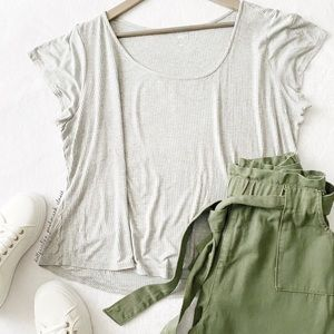 Cropped Ribbed Grey Top